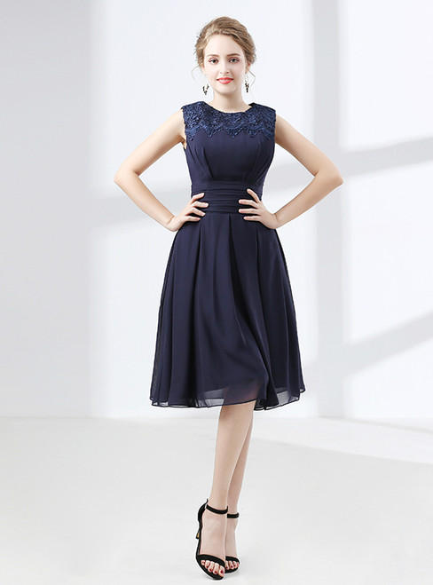 Short Blue Chiffon Knee Length Lace Bridesmaid Dress