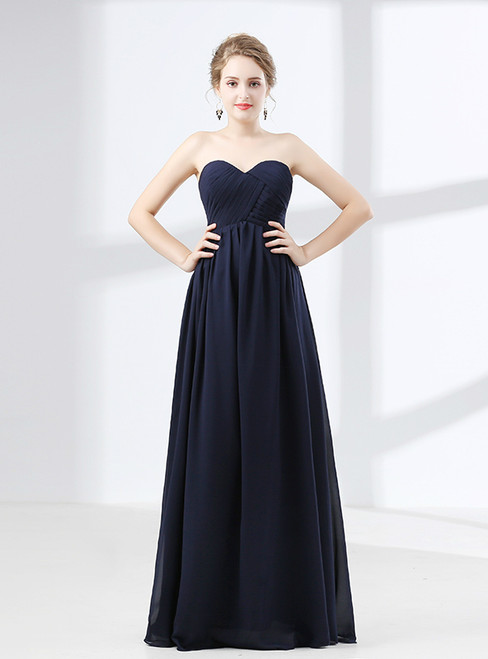 Blue Sweetheart High Waist Chiffon Pleats Bridesmaid Dress