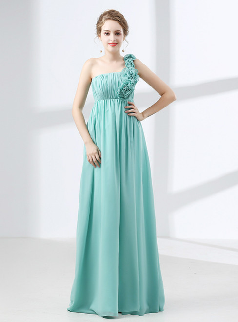 Blue One Shoulder Pleats Flower High Waist Bridesmaid Dress