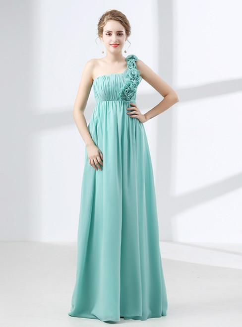 Blue One Shoulder Pleats Flower High Waist Bridesmaid Dress