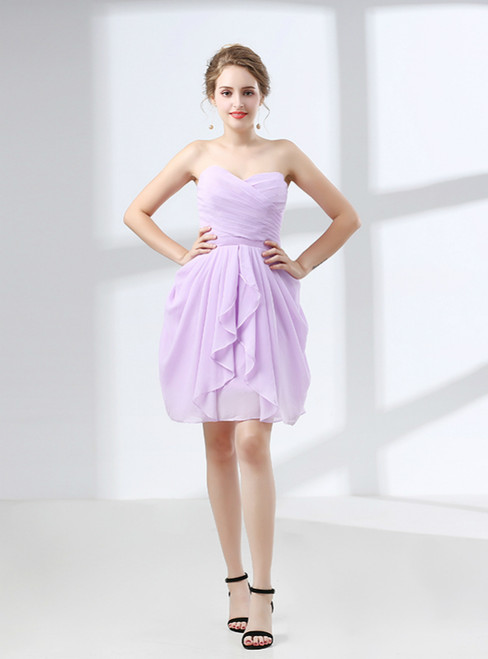 Purple Short Knee Length Chiffon Sweetheart Bridesmaid Dress