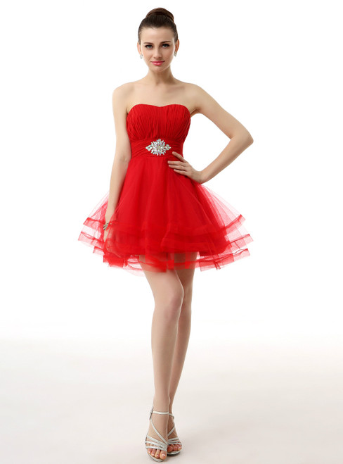 Red Mini Sweetheart Tulle Pleats With Crystal Homecoming Dress