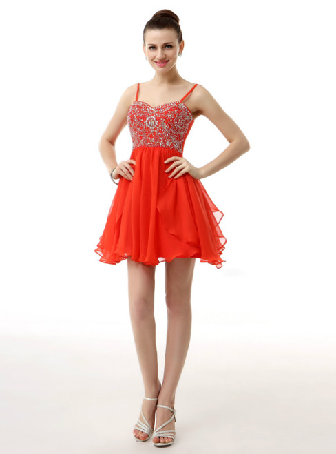 Red Spaghetti Straps Chiffon Mini With Beading Homecoming Dress