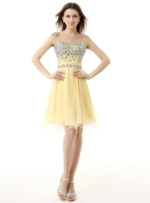 Yellow Chiffon Knee Length With Crystal Homecoming Dress