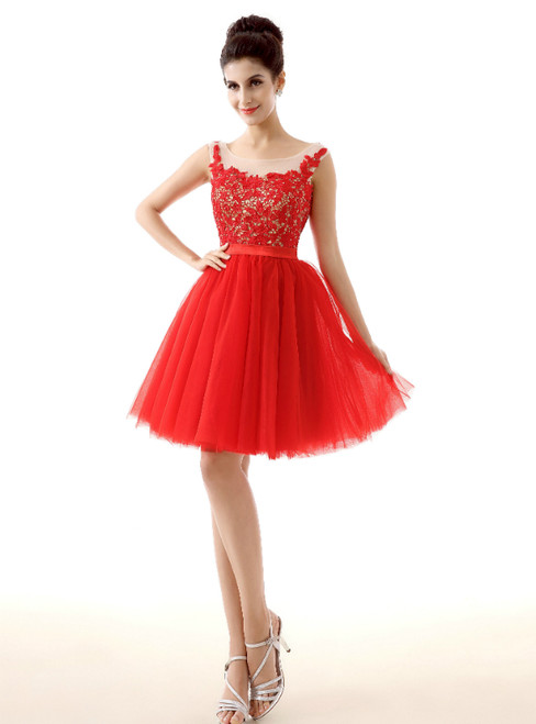 Red Tulle Lace Backless Knee Length Homecoming Dress
