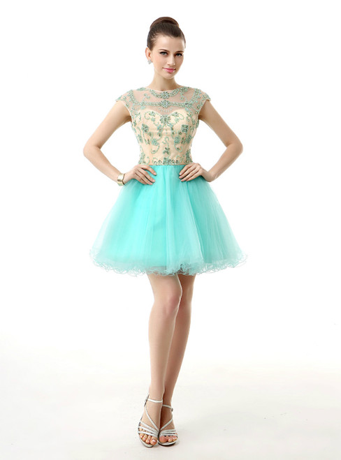 Light Blue Tulle Cap Sleeve Backless With Beading Homecoming Dress