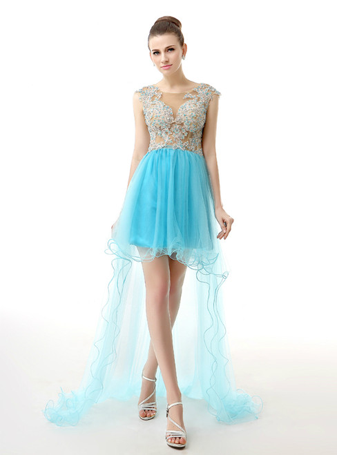 Blue Hi Lo Tulle Appliques Backless Cap Sleeve Homecoming Dress