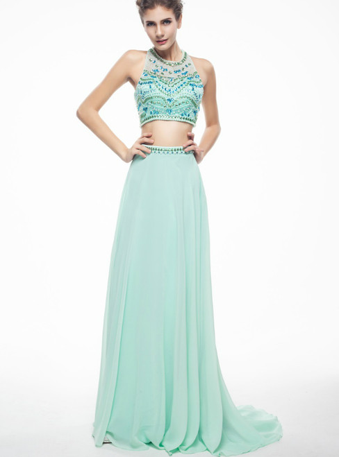 Green Two Piece Halter Chiffon Backless With Beading Prom Dress