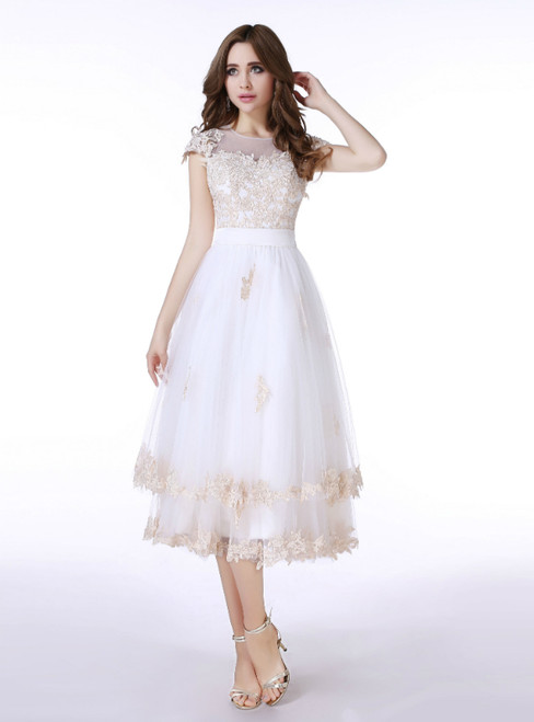 White Tulle Champagne Lace Tea Length Cap Sleeve Wedding Dress