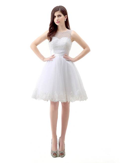 White Short Tulle Lace Knee Length Pearls Homecoming Dress