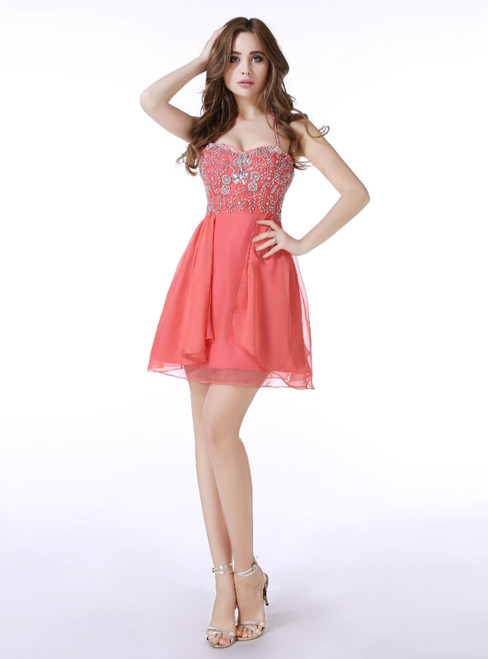 Red Chiffon Halter Mini With Beading Homecoming Dress