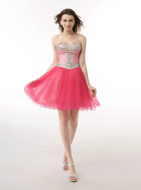 Pink Sweetheart Tulle With Crystal Homecoming Dress