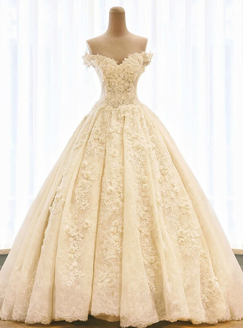 Champagne Ball Gown Off The Shoulder Flower Wedding Dress