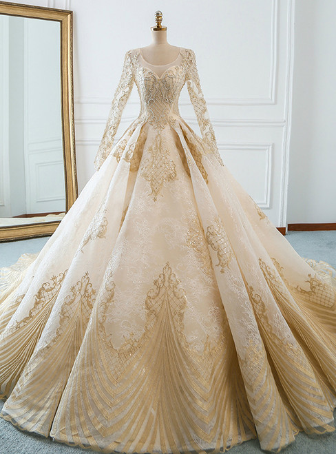 Champagne Tulle Gold Appliques Long Sleeve Wedding Dress