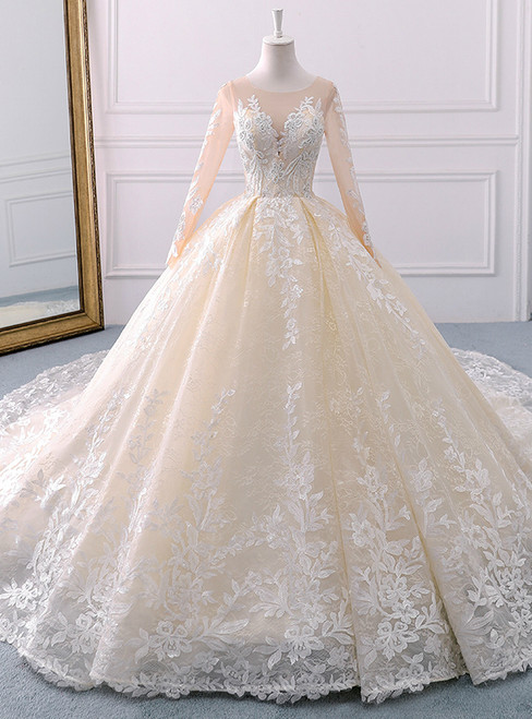 Champagne Tulle Appliques Long Sleeve Beading Wedding Dress