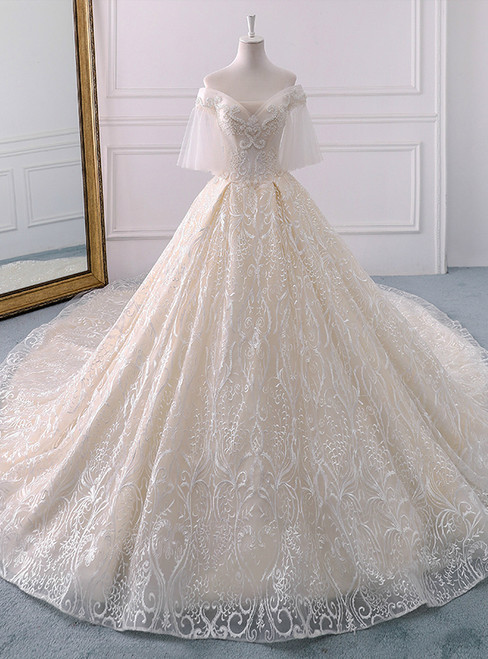 Ivory Ball Gown Tulle Off The Shoulder Long Train Wedding Dress