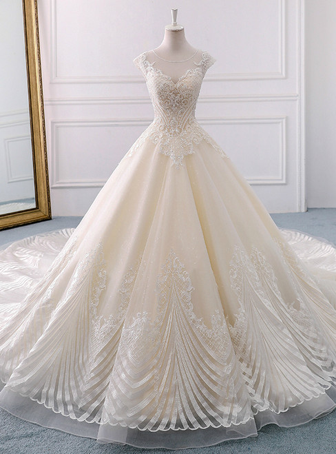 Champagne Tulle Lace With Beading Backless Wedding Dress