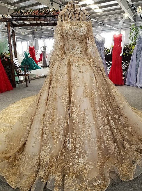 Gold Ball Gown Off The Shoulder Appliques Long Train