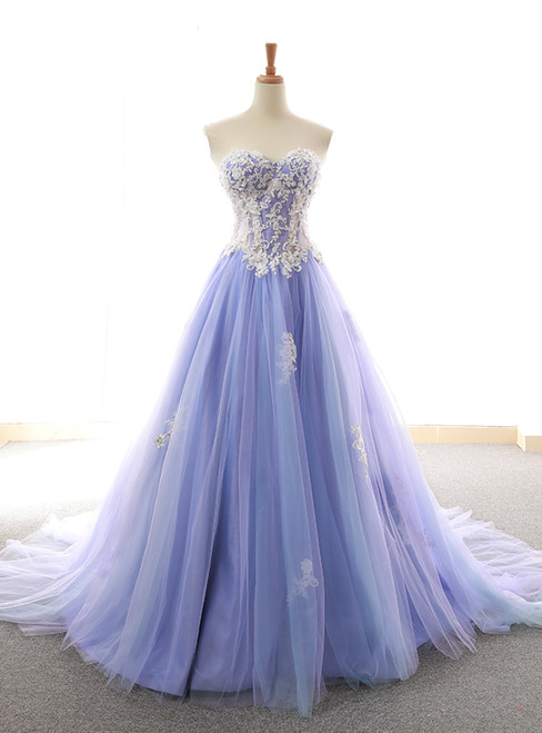 Purple Sweetheart Tulle Lace Appliques Wedding Dress