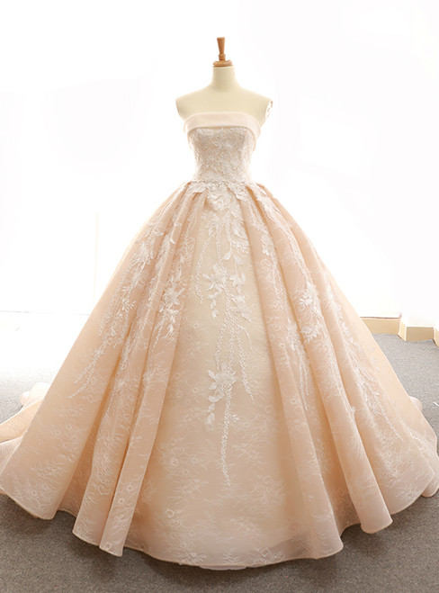 Champagne Ball Gown Strapless Lace Floor Length Wedding Dress