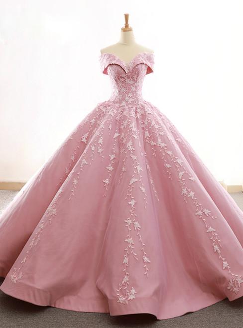 Pink Satin Tulle Off The Shoulder Appliques Wedding Dress