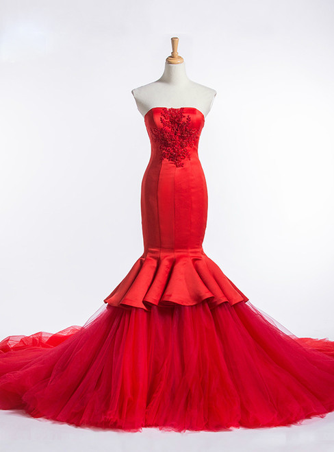 Red Mermaid Strapless Tulle Satin Train Wedding Dress