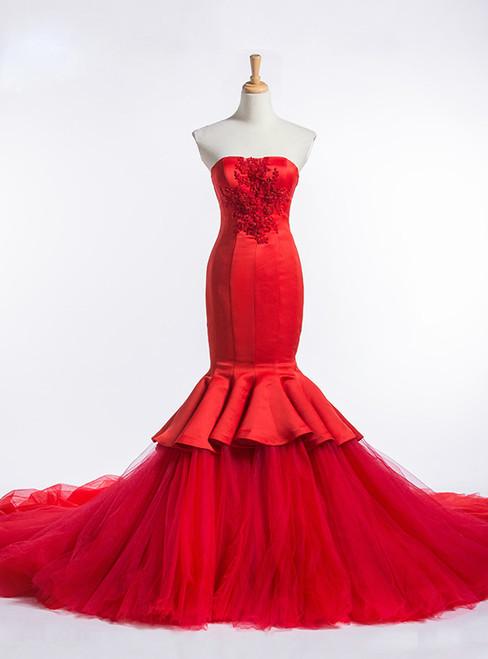 Red Mermaid Strapless Tulle Satin Train Wedding Dress