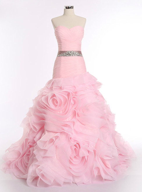 Pink Mermaid Organza Sweetheart With Sash Wedding Dress