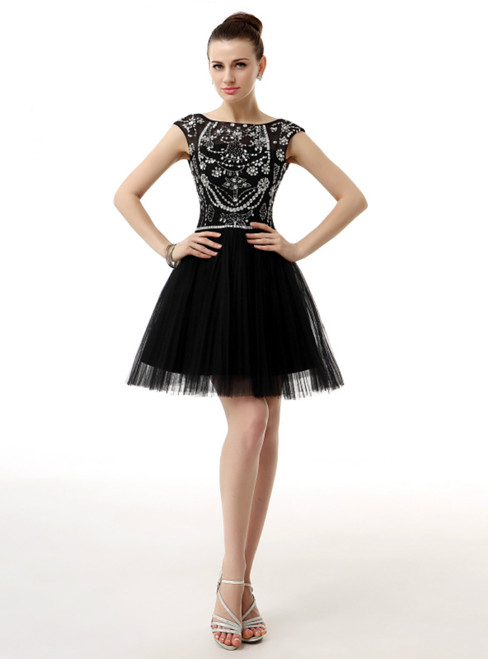Black Tulle Bateau Cap Sleeve Backless Homecoming Dress