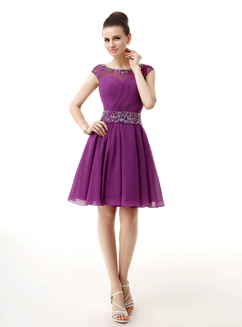 Purple Chiffon Cap Sleeve Backless Knee Length Homecoming Dress