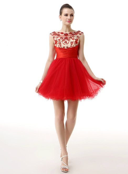 Red Mini Tulle With Beading Pleats Homecoming Dress
