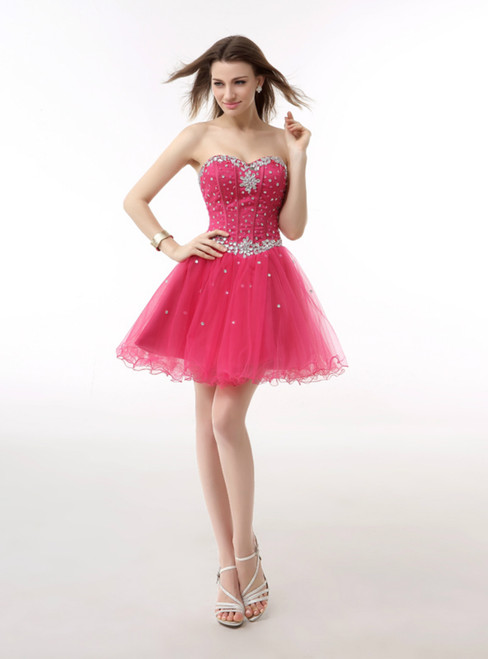 Short Tulle Sweetheart Beading Mini Homecoming Dress