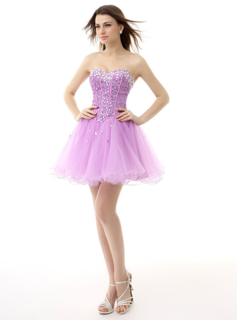 Light Purple Sweetheart Tulle With Crystal Homecoming Dress