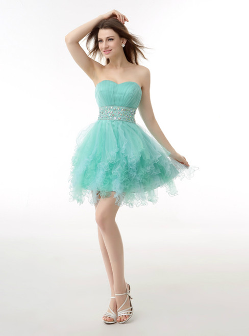 Light Blue Sweetheart With Beading Pleats Homecoming Dress