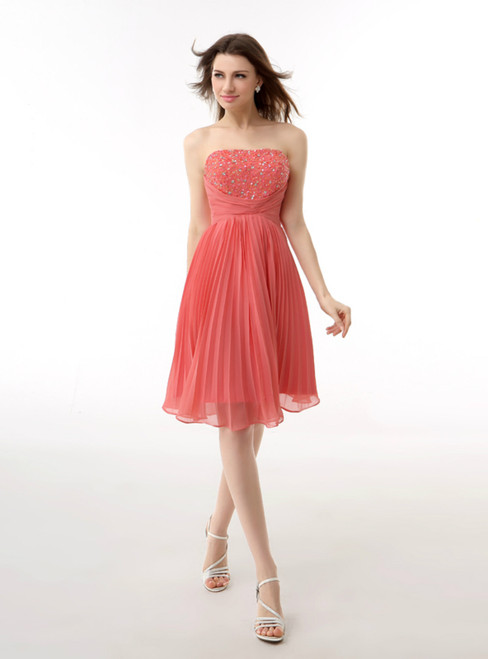 Red Knee Length Strapless With Pleats Beading Homecoming Dress