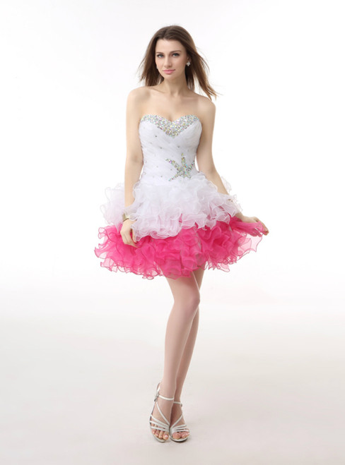 White Pink Organza Sweetheart With Beading Homecoming Dress