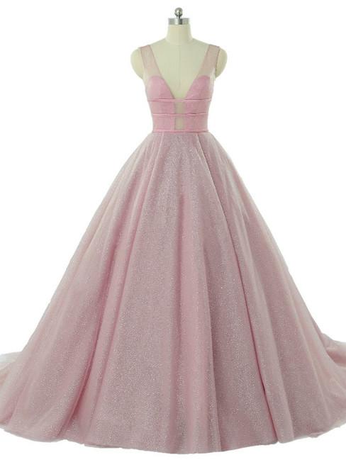Pink Tulle Deep V-neck Sleeveless Backless Wedding Dresses