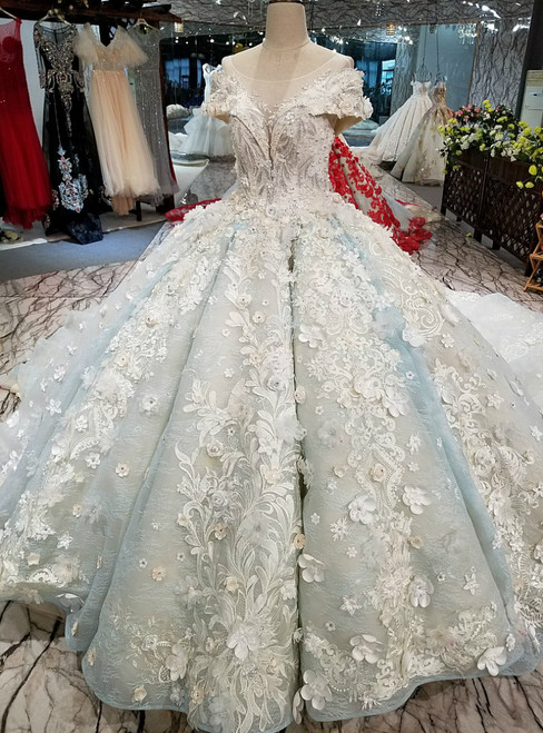 Blue Ball Gown Scoop Cap Sleeve Long Train Wedding Dress