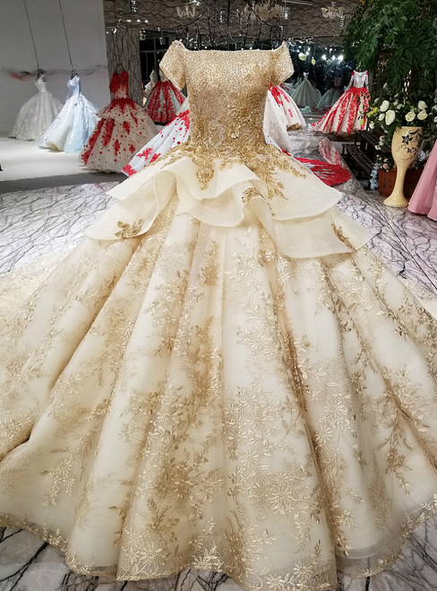 Champagne Ball Gown Gold Lace Appliques With Beading Wedding Dress