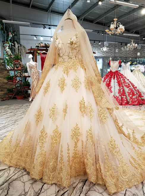 White Tulle Gold Lace Appliques Beading Ball Gown Wedding Dress