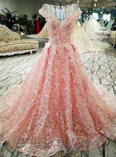 Pink Ball Gown Tulle Backless Appliques Cap Sleeve Wedding Dress