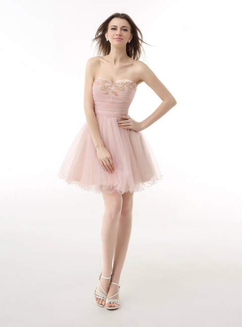 Pink Tulle Sweetheart With Pleats Beading Homecoming Dress