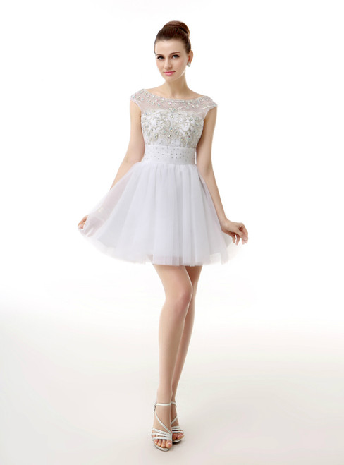 White Bateau Cap Sleeve Backless Homecoming Dress