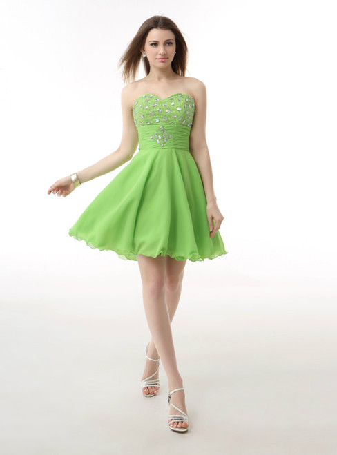 Green Chiffon Sweetheart Knee Length Beading Homecoming Dress