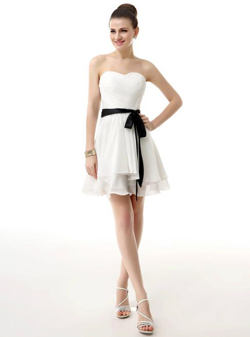 White Chiffon Knee Length With Pleats Sash Homecoming Dress