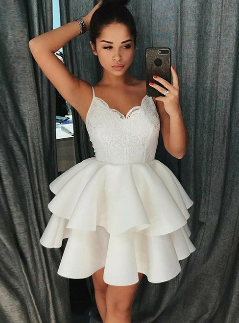 A-Line Spaghetti Straps White Short Appliques Homecoming Dress