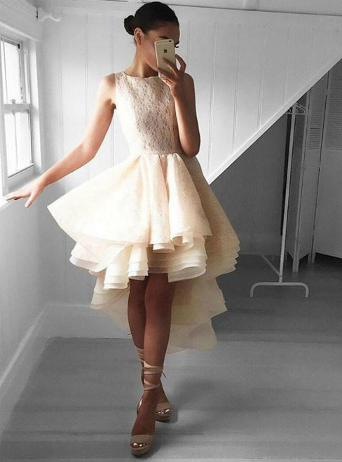 High Low Scoop Neck Lace Short Homecoming Dress