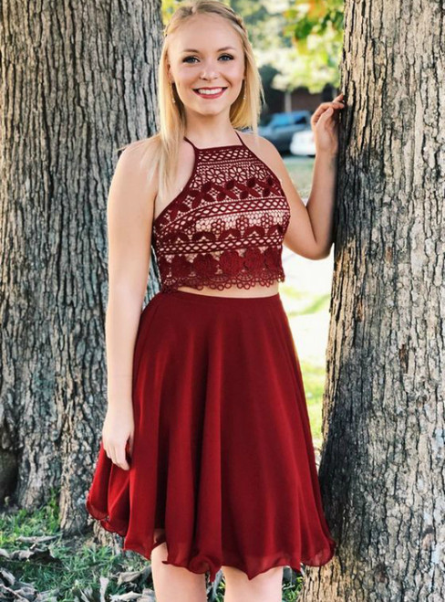 Burgundy Two Piece Short Halter Lace Homecoming Dress