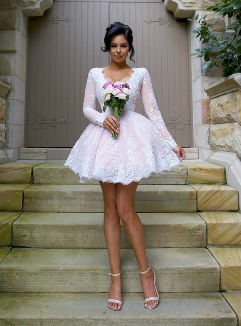Short Long Sleeve White Lace Appliques Homecoming Dress