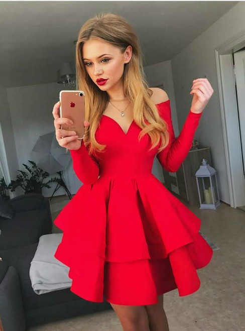 Red Long Sleeve Ruffles V-Neck Short Homecoming Dress